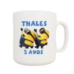 Canecas de plástico personalizadas em transfer Thales 2 anos