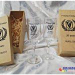 Kit taças de vidro com caixinha de MDF - 7ª turma Unimar
