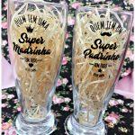 Copos de vidro personalizados Munich 200ml - Super Madrinha e Super Padrinho