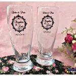 Copos de vidro munich personalizados Angélica e Luiz