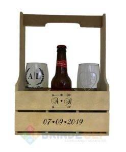 Caixote de MDF com alça + 2 taças de vidro Personalizadas
