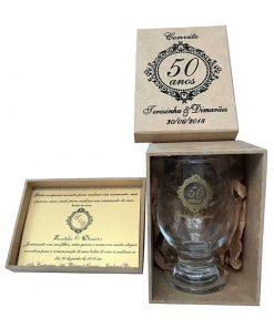 kit taça de vidro modelo paulista 300ml caixa de mdf personalizada