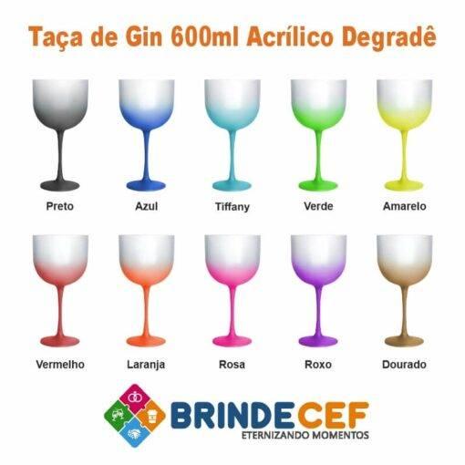 Taça de Gin de Acrílico Degrade 600ml Personalizada