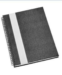 Caderno Personalizados para brindes ócios Grande Capa Grafite com Faixa Prata