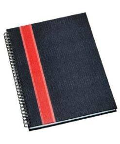 Caderno Personalizado de Negócios Grande Capa Grafite com Faixa Vermelha
