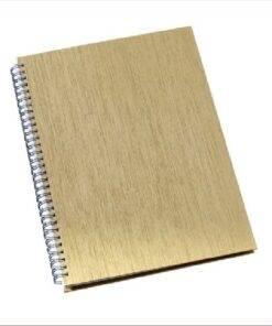 Caderno Personalizado de Negócios Grande Capa Metalizada Ouro