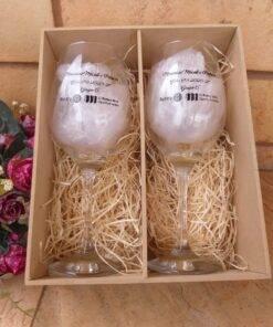 Kit Mdf Personalizada duas taças de vinho Barone 385ml